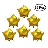 TOYMYTOY Luftballons,Star Folienluftballon für Valentinstag Hochzeit Geburtstag, 50pcs (Gold)