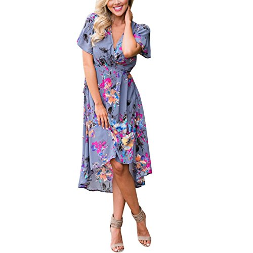 Bellelove Femmes robe mi-longue à la mode robe imprimée fleur Split épissage irrégulière Bohemia Empire robe de taille S à XL
