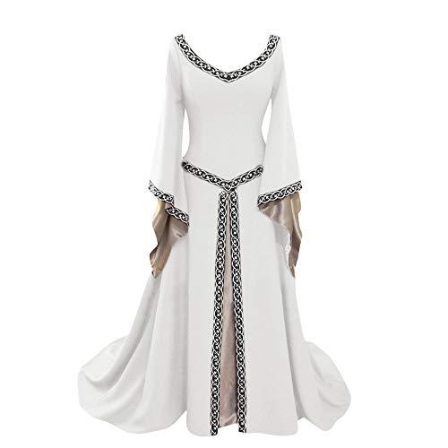 (Sasstaids Kleide Damen Mittelalter Kleider Viktorianischen Königin Kleid Cosplay Kostüm Langarm Kleid-Gothic Jahrgang Prinzessin Renaissance Bodenlänge)