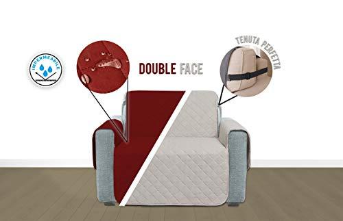 Kasashop monjo copridivano salvadivano impermeabile doubleface con laccetti protezione divano coperture su due lati anti caduta per cani e gatti (bordeaux/tortora, poltrona)