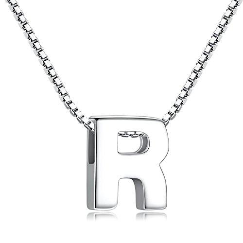 Buchstabenkette 925 Sterling Silber Name Halsketten Initialen Buchstabe Kette Anhänger Damen (Kette mit buchstabe R)