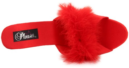 Pleaser LIP101-8/BP/C Mules Femmes Rouge (Red Satin-Fur/Clr)