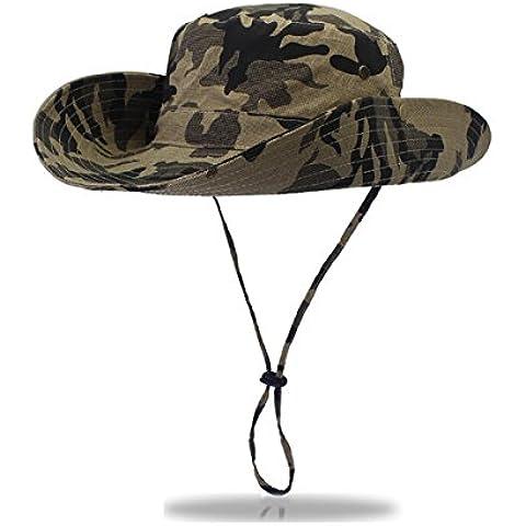 Unisex al aire libre ala ancha selva camuflaje sombrero–protección UV tamaño grande gorra de caza pesca sol militar boonie, Verde oscuro