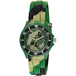 Ravel Children's Easy Read Quartz Watch with Multicolour Dial Analogue Display and Green Army Silicone Strap R1802.11
