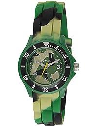 Ravel Kinder einfach Lesen Silikon Armband Uhr mit Zifferblatt Analog-Anzeige- und Grün Army Quarz r1802.11