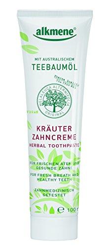 alkmene Kräuter Zahncreme, Zahnpasta mit Fluorid & Teebaumöl, Zahnpaste, vegan, 6er Pack (6 x 100...