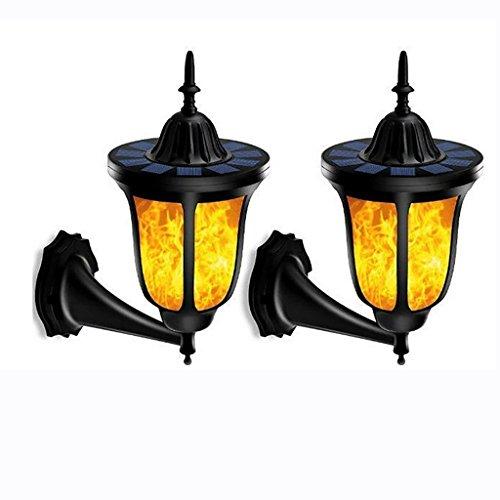 G&L Flame Light, 96 Perle LED Solar Licht im Freien wasserdichte LED Flame Effect Garten Wandleuchte Garten Dekoration Solar Beleuchtung 2PCS [Energieeinsparung A +] (Im Stil Freien Outdoor-lampe)