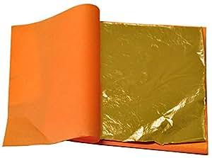 Oro imitazione in foglia libera - oro medio - 100 fogli - 16 x 16 cm