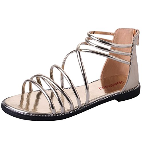 Oasap Women's Solid Peep Toe Lace up Flat Gladiator Sandals Golden