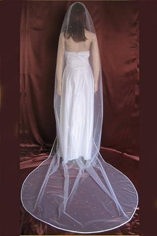 Bridal Veil White 1 Tier Cathedral Length Satin Hem Edge Scattered Rhinestones by Velvet Bridal