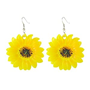 Damen Ohrringe, Sonnenblume Gelb Große Blume Sommer Frische Wilde übertriebene Ohrringe Schmuck Armreif Geschenk Jewelry Frauen,Überraschungsgeschenk Freundinnen Mütter Tochter