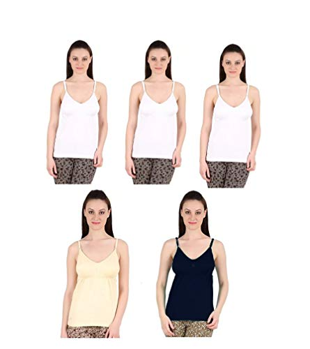 GMR Girls/Women's Bra Camisole - Pack of 5 (90 cm) (Black,Beige,White)