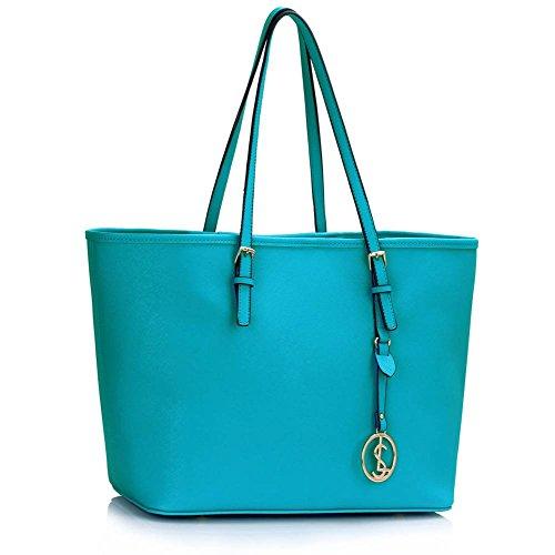 Trend Star woman designer handbag ladies fashion patent tote bag (D - Black / White) B - Teal