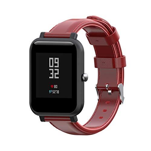 Waotier für Xiaomi Huami Amazfit Bip Youth Watch Armband Leder Armband für Xiaomi Huami Amazfit Bip Youth Watch mit Edelstahl Verschluss Armband für Männer und Damen Elegante Armbänder (Rot)