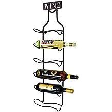 Unbekannt Estantería de Pared para Botellas de Cristal Vino ESS Habitaciones Adorno Negro Wine Harms 504864