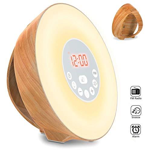 Lichtwecker, COULAX Holz Wake Up Licht Wecker Sonnenaufgang Mit 6 Natürlichen Sounds FM Radio Snooze Funktion, Verblassenden Nachtlicht Mit 7 Farben Nachttischlampe Holzmaserung, Touch Control