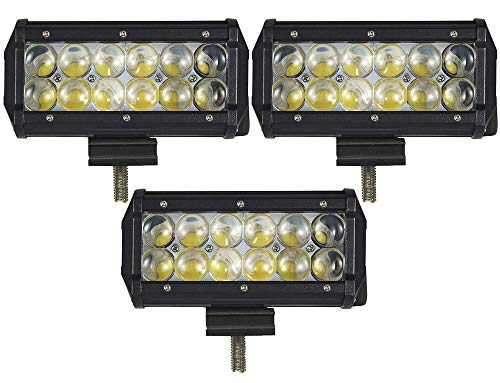 ALPHA DIMA 3X 36W 72W 18W Phare de Travail LED Lampe Voiture Barre(90 degré),12V 24V Long Barre Carré Feux de Jour LED Imperméable IP67 Spot Extérieur Éclairage(36 Watt)