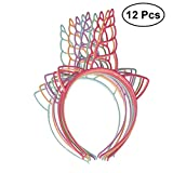Frcolor Pack de 12 tiras de plástico para unicornio, círculos de pelo para niñas y niños