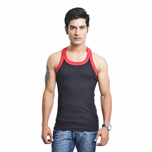 EURO Men's Cotton Vest (Pack Of 1) (GYM-BLACK-RED) (Size:Small)  available at amazon for Rs.279