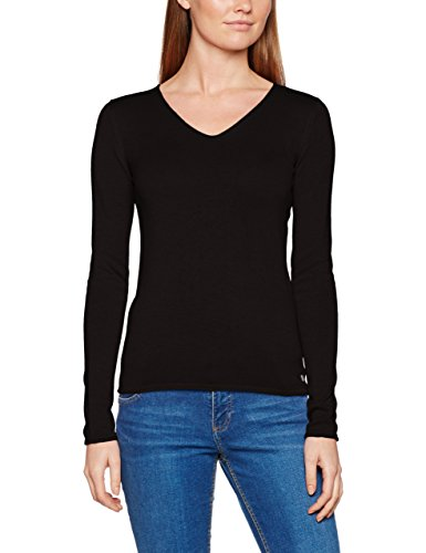 TOM TAILOR Damen Pullover Basic v-Neck Sweater, Schwarz (Black 2999), 40 (Herstellergröße: L)