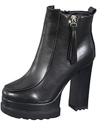 a7f2f13bdcb LBTSQ-Botas Cortas Grueso Tacon Martin Botas 12Cm Plataforma Impermeable  Extra High Heels Terciopelo De Algodón Zapatos Tacones…