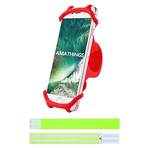 AMATHINGS Stabiler Fahrrad-Smartphonehalter In Rot Und 2 Reflektierende Hosenschutz-Bänder Auto-Lenkrad-Halter Für Smartphones Bis 5,5'