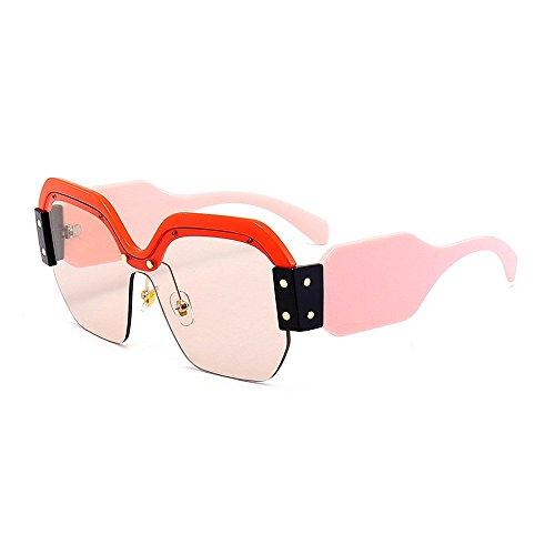 XHCP Frauen polarisierten Klassische Flieger-Sonnenbrille, Persönlichkeit-Bunte Sonnenbrille für Frauen-große Mädchen-halb randlose Sonnenbrille-Klassische übergroße quadratische modische Damen-S