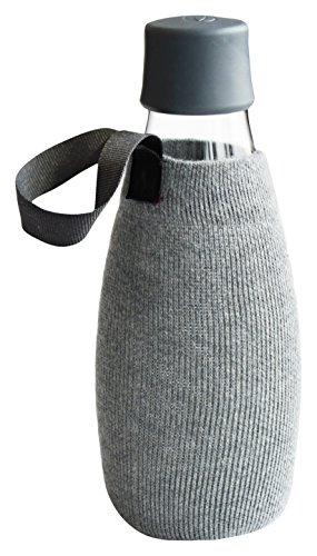 Retap 05 Flaschenhülle, quadratisches Muster, Textil, grau, 0.5 / Medium