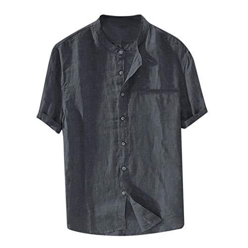 Dunkelblaue Italienischer Anzug (BHYDRY Herren Baggy Baumwolle Leinen Volltonfarbe Kurzarm Retro T Shirts Tops Bluse)