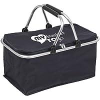 Cajas de almacenaje replegable Multiusos fácil de Limpiar MY Basket TO GO Organizador para artículos para el hogar, prácticos Accesorios para Coche y Caravana, Material no desgarrable, Azul Oscuro