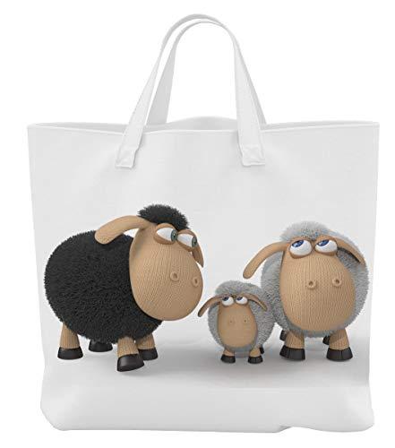 Merchandise for Fans Einkaufstasche - 45 x 42 cm x 9,5 cm, 18 Liter - Motiv: 3D Comic Schafe stehend mit Lamm - 05 - Lamm-fan