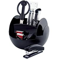 PAVO Premium Rotating Desk Organizer Kit with Stationery Set - Black