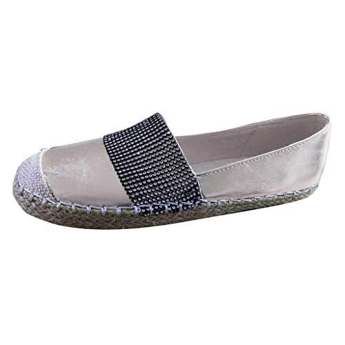Zapatillas de Mujer Casual Verano 2020 PAOLIAN Zapatos de Mujer Vestir Plano Paja sin Cordones Cómodos...