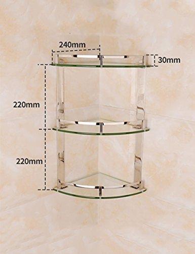 Glas Badezimmer-eck-regal (Badezimmer XIA Edelstahl-Dreieck-Regal Glas-Regale WC-Eck-Rack (größe : 24 * 44cm))