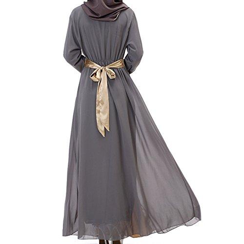 Highdas Frauen Muslim Langarm Kaftan Abaya Kleid Mittleren Osten Chiffon Splice islamische Kleidung Grau