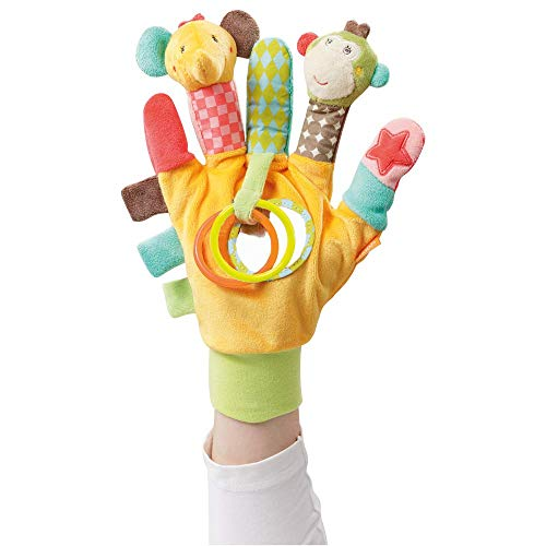 Fehn 074604 Spielhandschuh Safari - Fingerpuppen-Handschuh Affe und Elefant mit Rassel und Quietsche für Babys und Kleinkinder ab 0+ Monaten