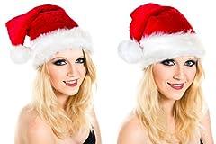 Idea Regalo - Ciffre Berretto di Natale Natale cappelo di Babbo Cappelli Cappucci Set di 2 Super Peluche Rosso
