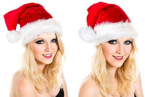 Weihnachtsmütze Nikolausmütze Mütze Weihnachten Nikolausmütze Santa Christmas Nikolaus 2 Stück im Set Rot Super (Plüsch Santa Mütze)
