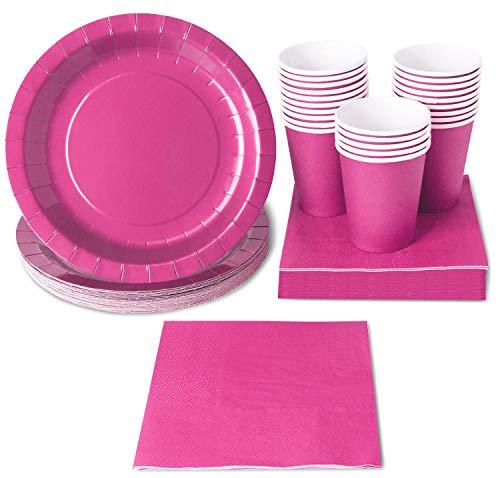 Einweg Geschirr Set–24-set Papier Geschirr–Dinner Party Supplies für 24Gäste, inkl. Pappteller, Servietten und Tassen neon ()