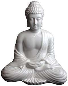 Bouddha assis en céramique blanche