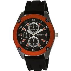 Henley Herren-Armbanduhr Henley Gents Decorative Multi-Dial Sports Watch Analog silikon schwarz H02057.8