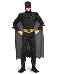 Batman - The Dark Knight Rises Deluxe Kostüm mit Muskeln, Overall, Umhang, Maske, Gürtel