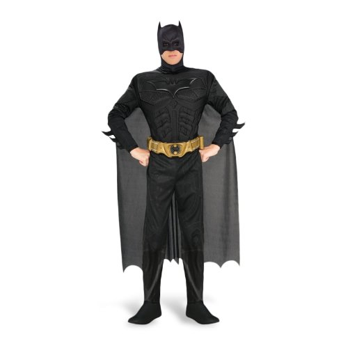 Adult Deluxe Knight Dark Batman Kostüm - Herren Kostüm Batman Deluxe mit Muskeln - The Dark Knight, Schwarz, M