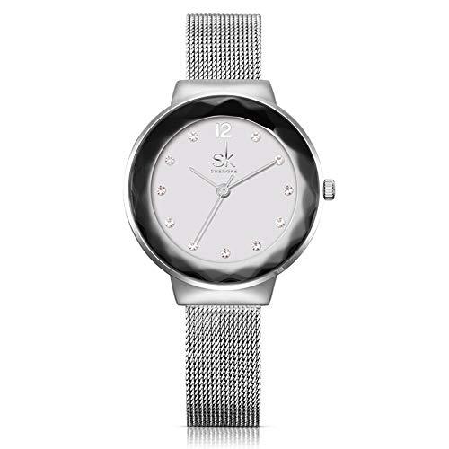 Orologi da donna, disegno minimal design bling, fashion ladies ' s bracciale al quarzo orologio con maglia banda (argento)