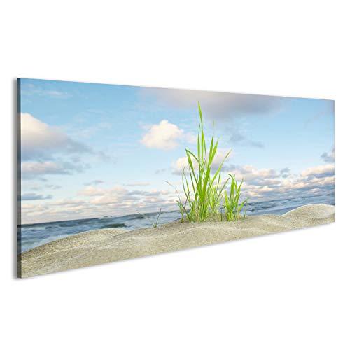 bilderfelix® Bild auf Acrylglas, Hochglanzpoliert, Düne mit Gras auf Hintergrund des Meeres Wandbild, Poster, Glasbild sehr edel EFB