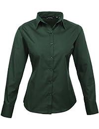 Blusa de manga larga de popelina para mujer 9e0685615c677
