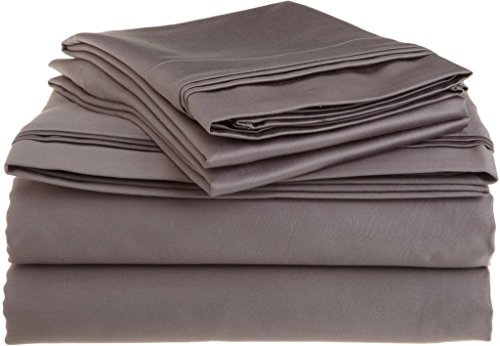 9081 Satin (British Wahl Leinen Ägyptische Baumwolle 4 PCS-Bettlaken-Set 600-thread-count Satin., baumwolle, Dark Grey Solid, UK Caesar)