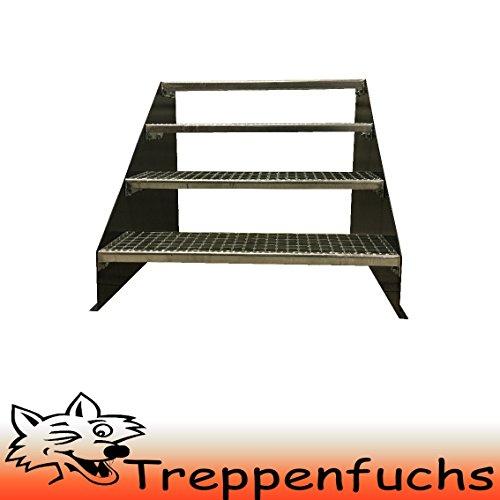 4 Stufen Standtreppe Stahltreppe freistehend Breite 80cm Höhe 84cm Anthrazitgrau/ Robuste Außentreppe / Stabile Industrietreppe für den Außenbereich