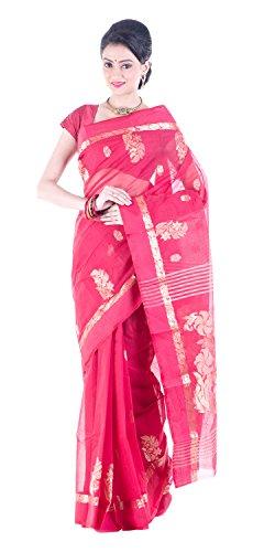 Tantuja Women's Tangail Handloom Cotton Saree Without Blouse Piece (Red)