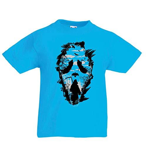 lepni.me Kinder Jungen/Mädchen T-Shirt Tribal Sensenmann Schrei - Tod gruselig beängstigend (9-11 Years Hellblau ()